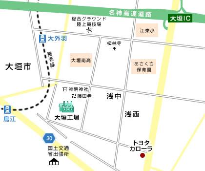 大垣工場の地図